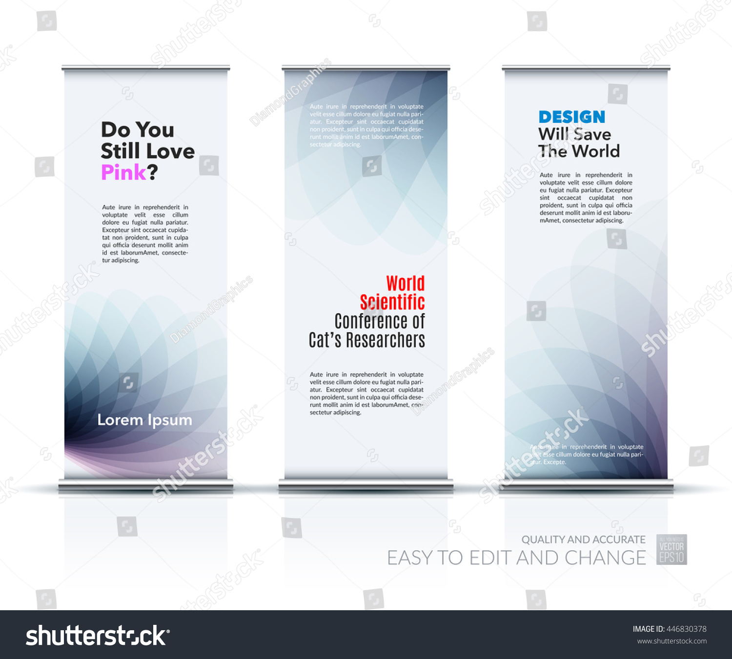 Marketing Exhibition Stand Mockup : Vector set modern roll banner stand stock