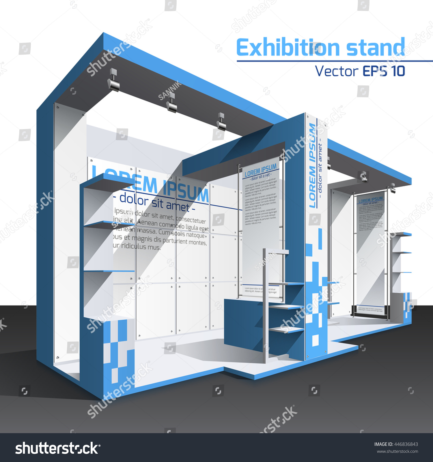 Exhibition Stand Design Illustrator : Realistic vector exhibition stand design blue stock