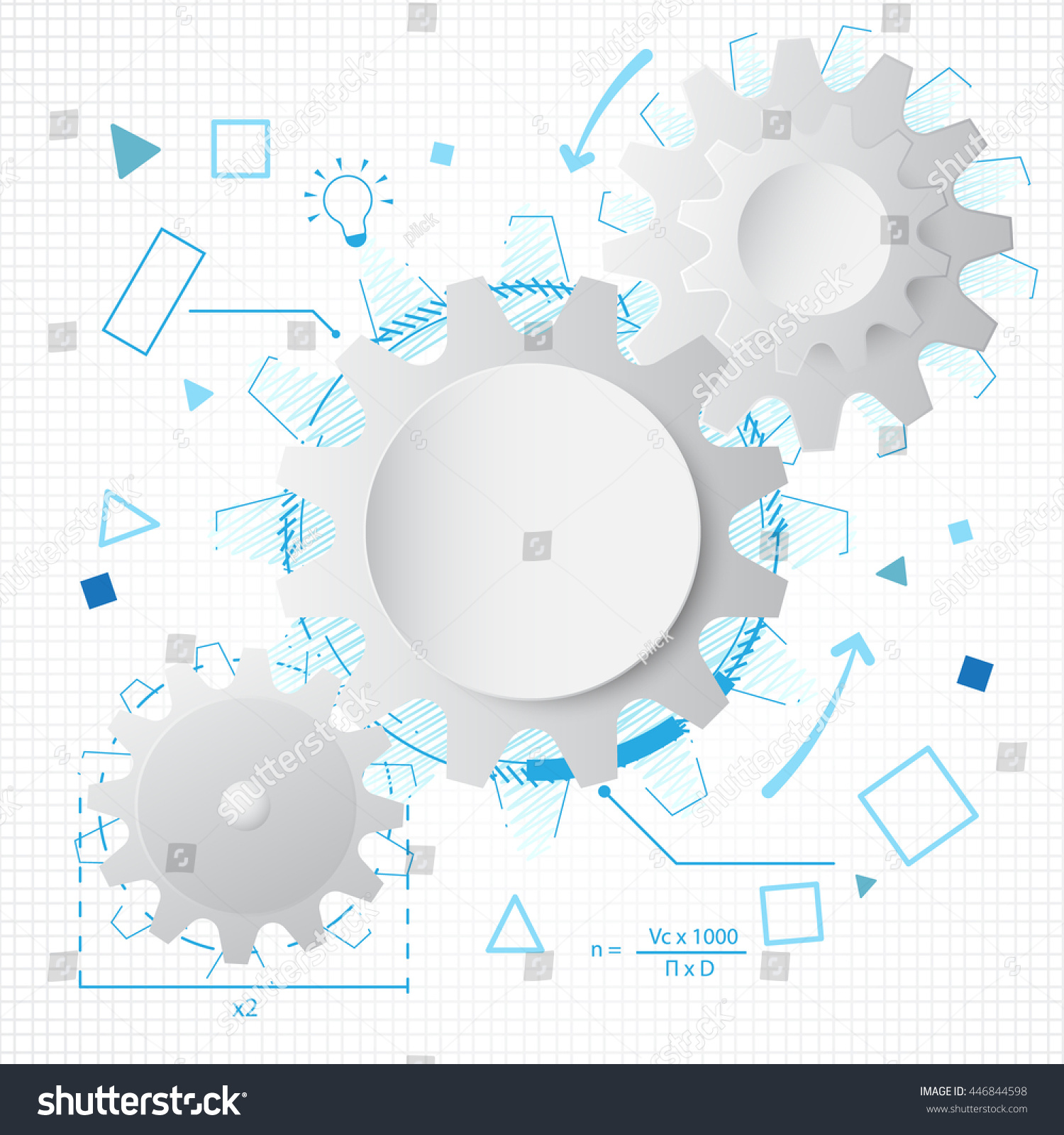 Abstract white gears wheel technology background stock vector abstract white gears wheel technology background with blue lines draw invention concept design malvernweather Choice Image