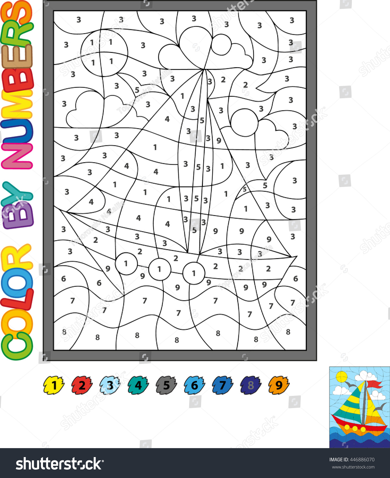 Vector Coloring Book Color By Numbers Bright Yacht Under Sail