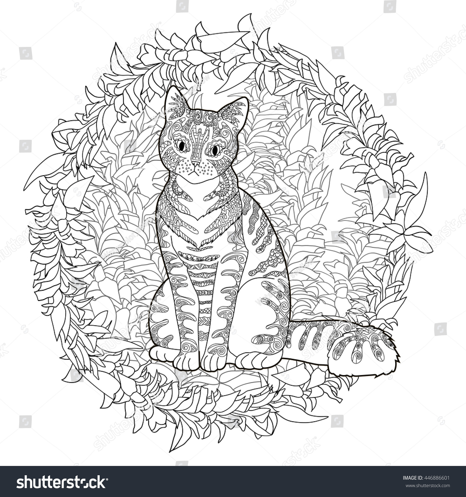 Zen cat coloring page - High Detail Patterned Cat In Zentangle Style Adult Coloring Page For Anti Stress Art Therapy