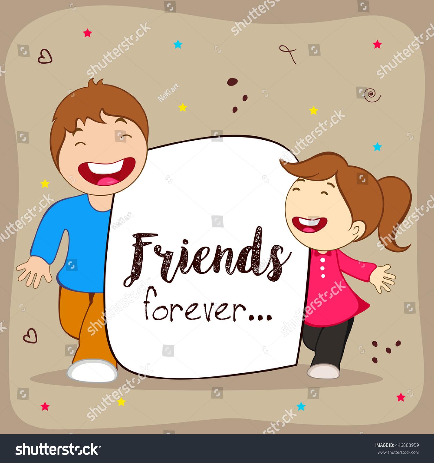 Greeting poster flyer card happy friendship stock vector royalty greeting poster flyer or card for happy friendship day with cute friends people m4hsunfo