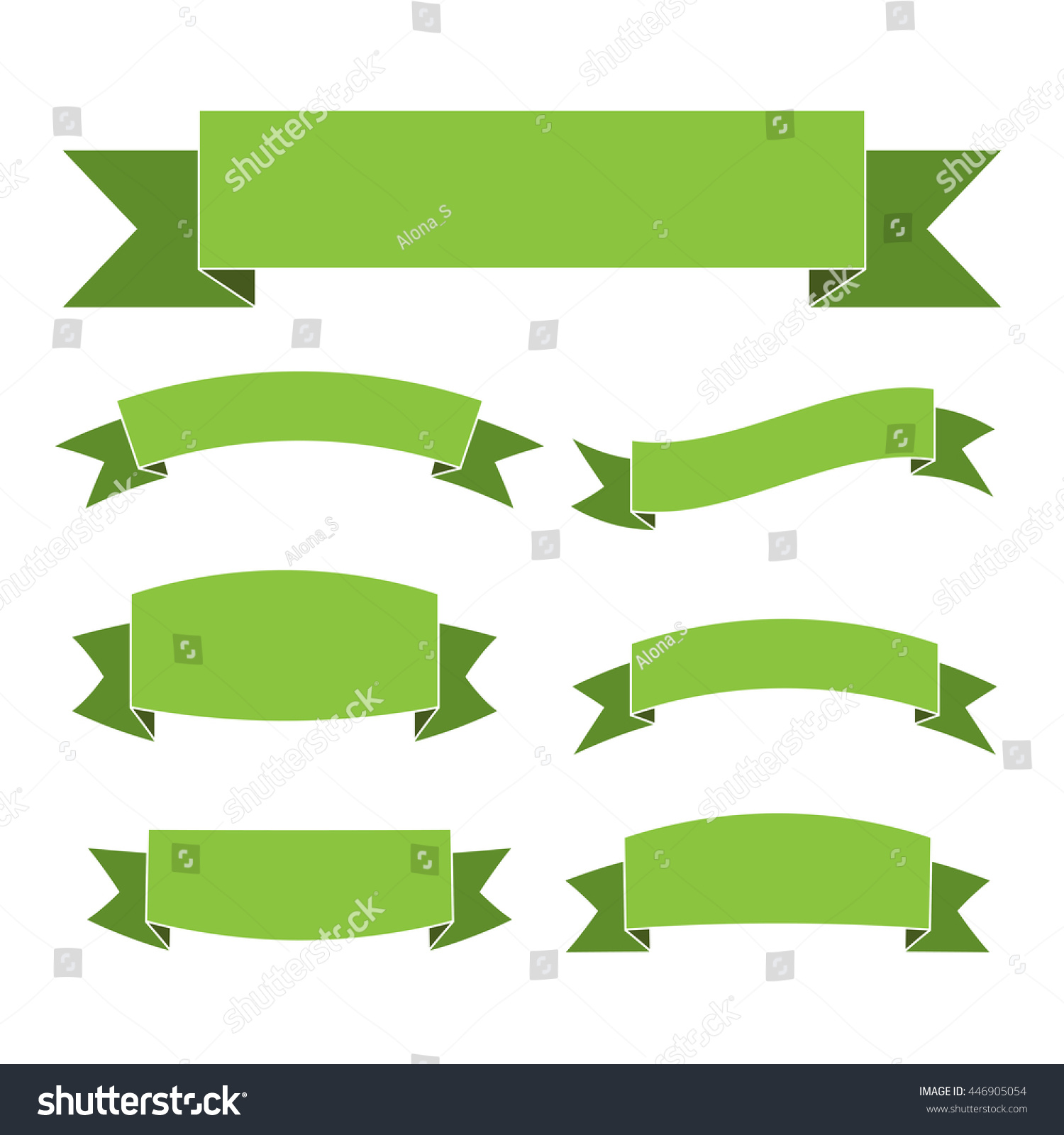 Green Ribbon Banners Set Beautiful Blank Stock Vector 446905054 ...