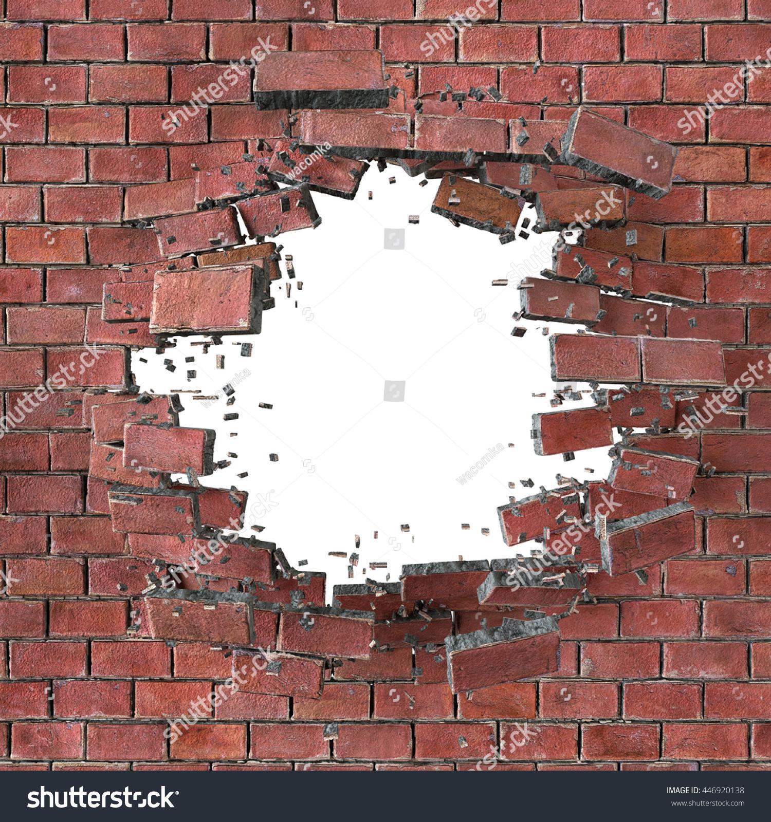 3dレンダリング 3dイラスト 爆発 ひび割れた赤いレンガ壁 銃弾穴