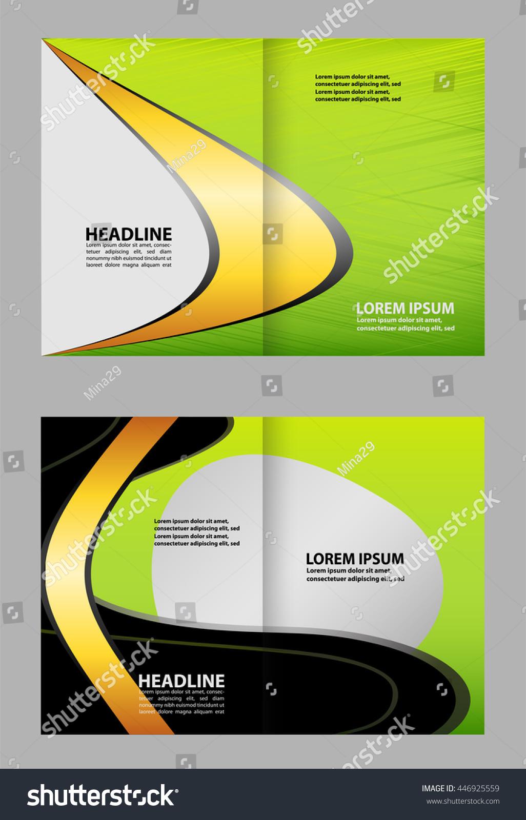bifold brochure template design green color stock vector 446925559 shutterstock. Black Bedroom Furniture Sets. Home Design Ideas