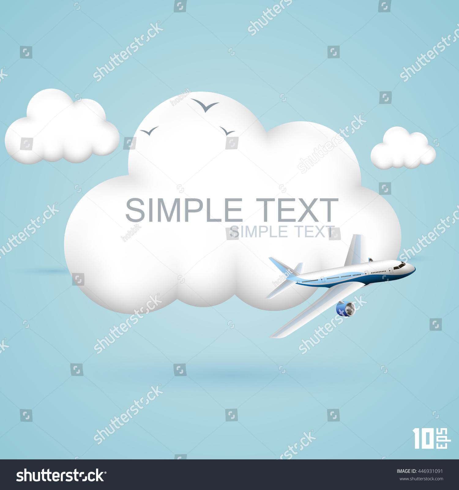 Plane flies clouds symbol 3d cloud stock vector 446931091 the plane flies in the clouds symbol of 3d cloud and plane concept travel biocorpaavc Gallery