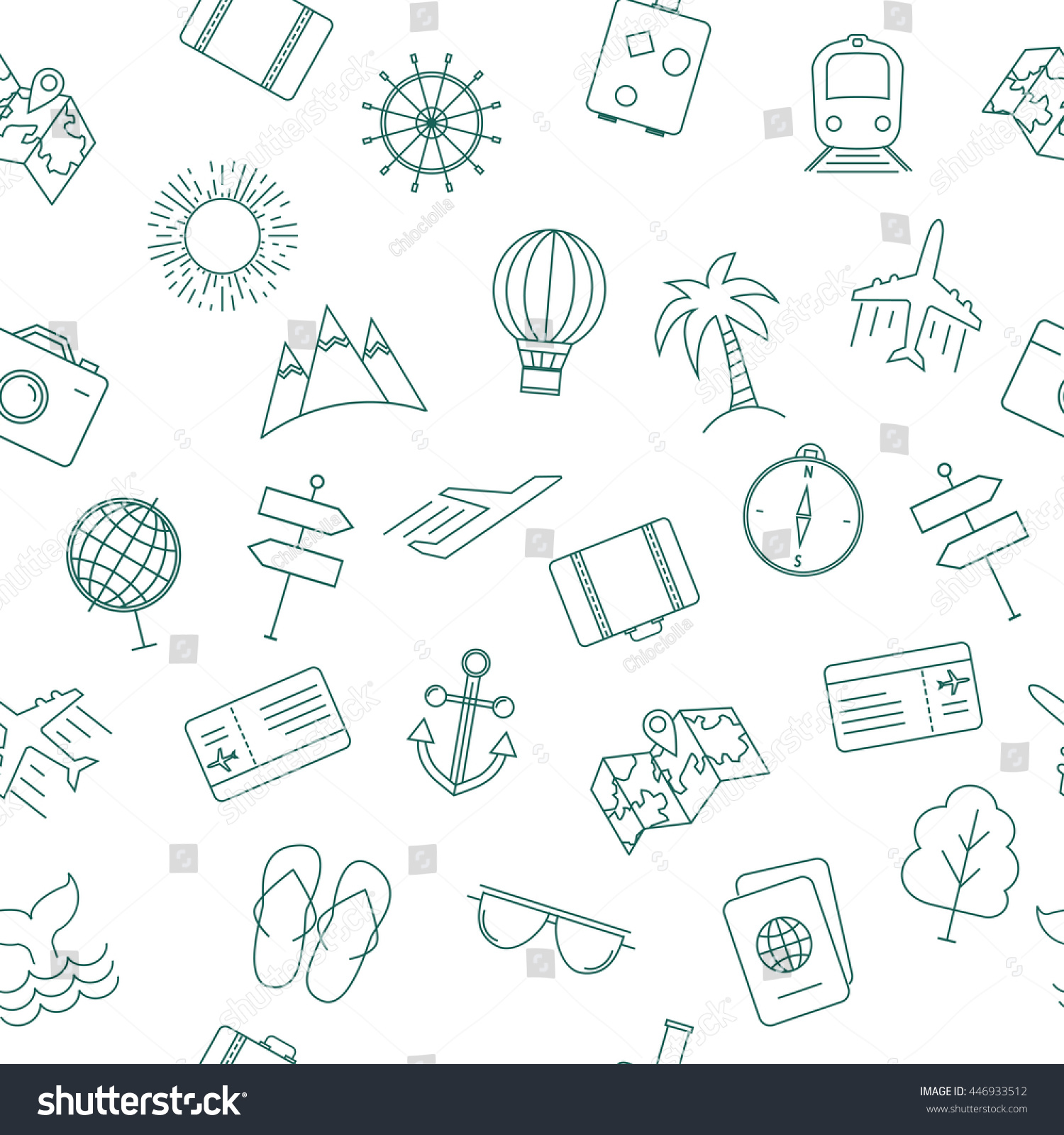 travel theme seamless pattern modern graphic stock vector