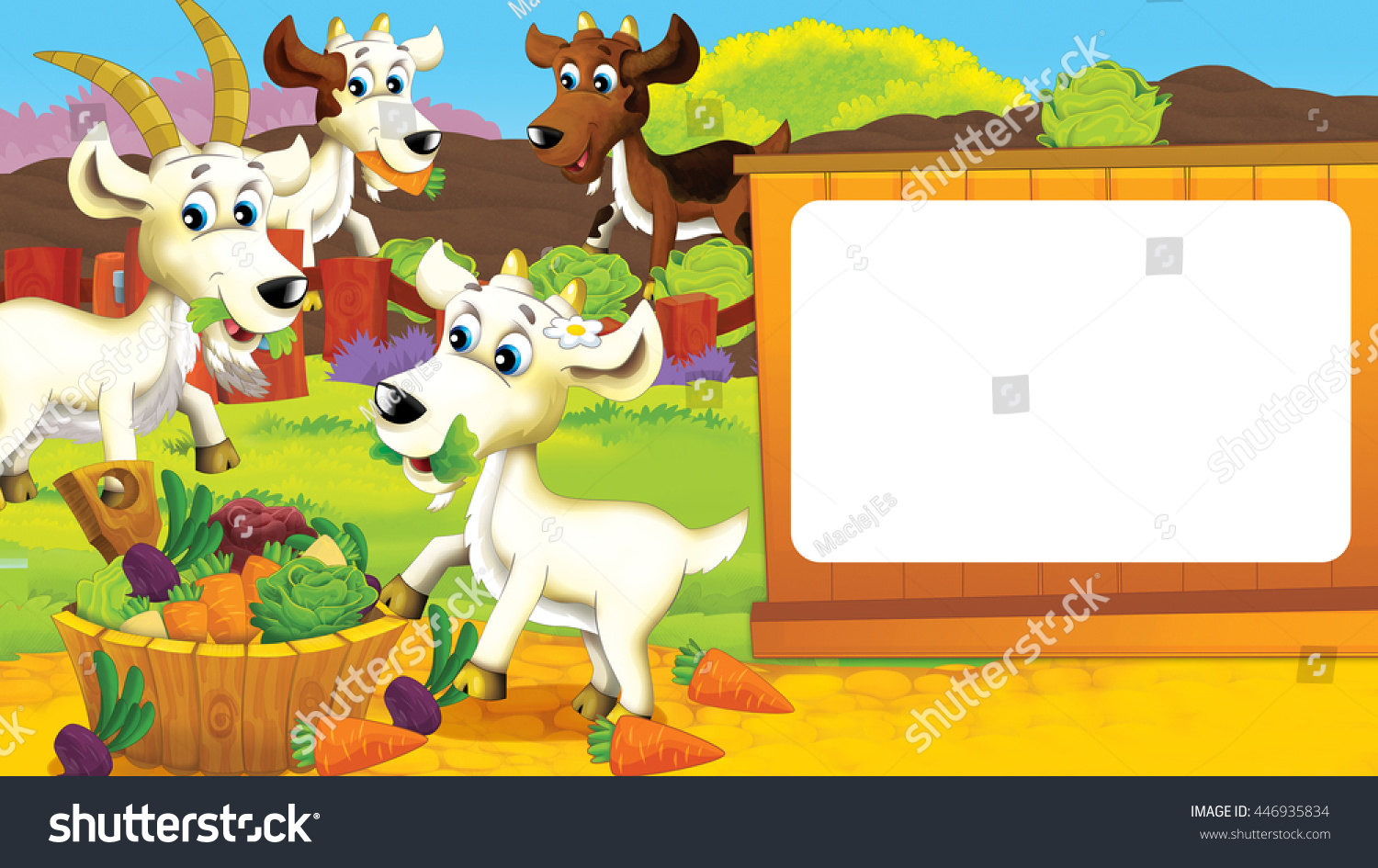Cartoon Scene Of A Goat On The Farm Having Fun