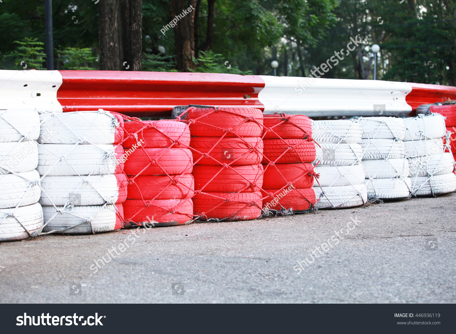 Tires Used Protection On Racing Track Stock Photo (Edit Now