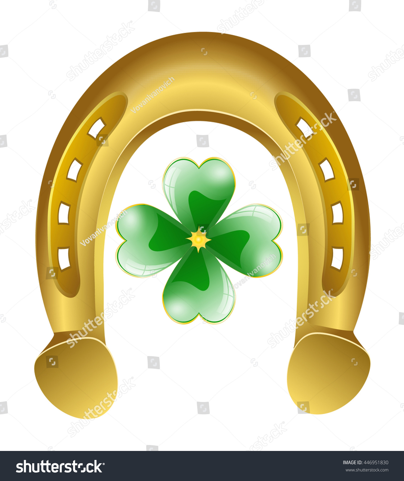 Uncategorized Lucky Symbol horseshoe four leaf clover lucky symbol stock vector 446951830 and illustration