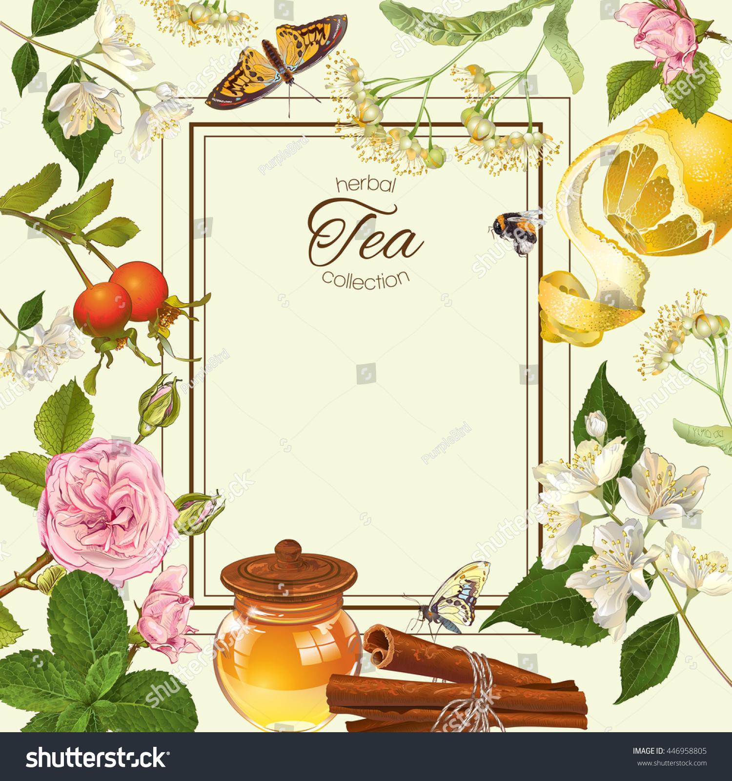 Herbal tea frame linden jasmine flowers stock illustration 446958805 herbal tea frame with linden and jasmine flowers lemon and honey design for tea izmirmasajfo