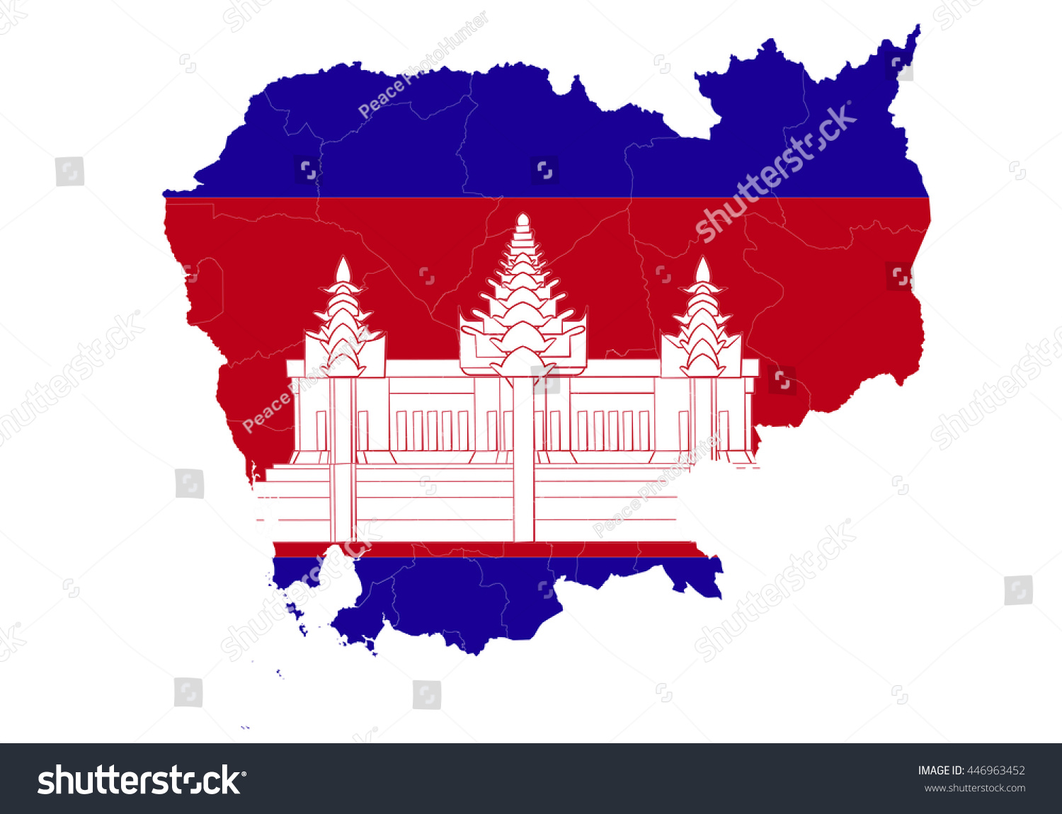 Cambodia Country Map Flag On White Stock Illustration 446963452 ...