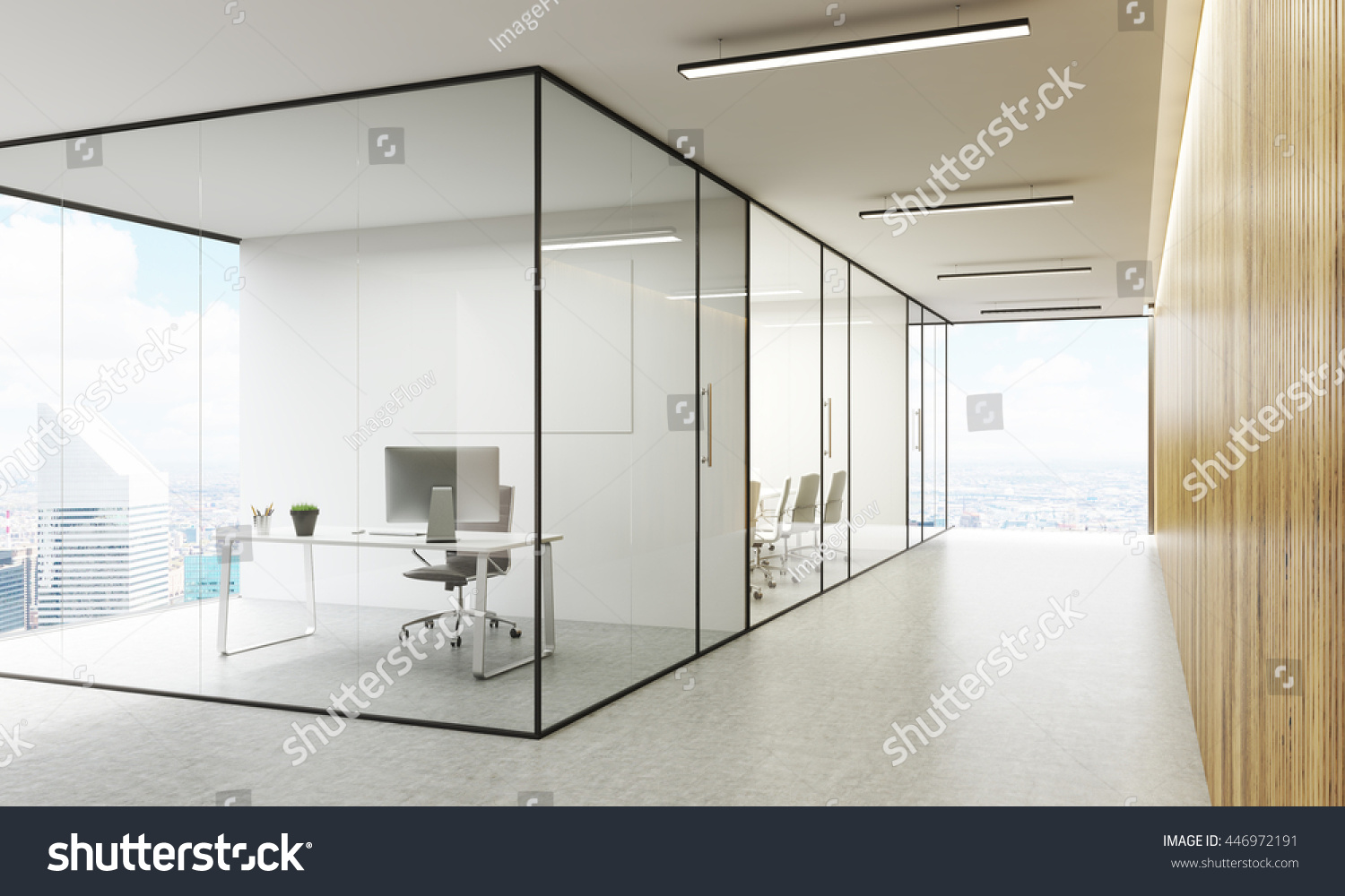 Empty Office Room With Window Cloudiasouvenir Com - Side view of office interior with blank whiteboard behind glass doors hallway with concrete floor