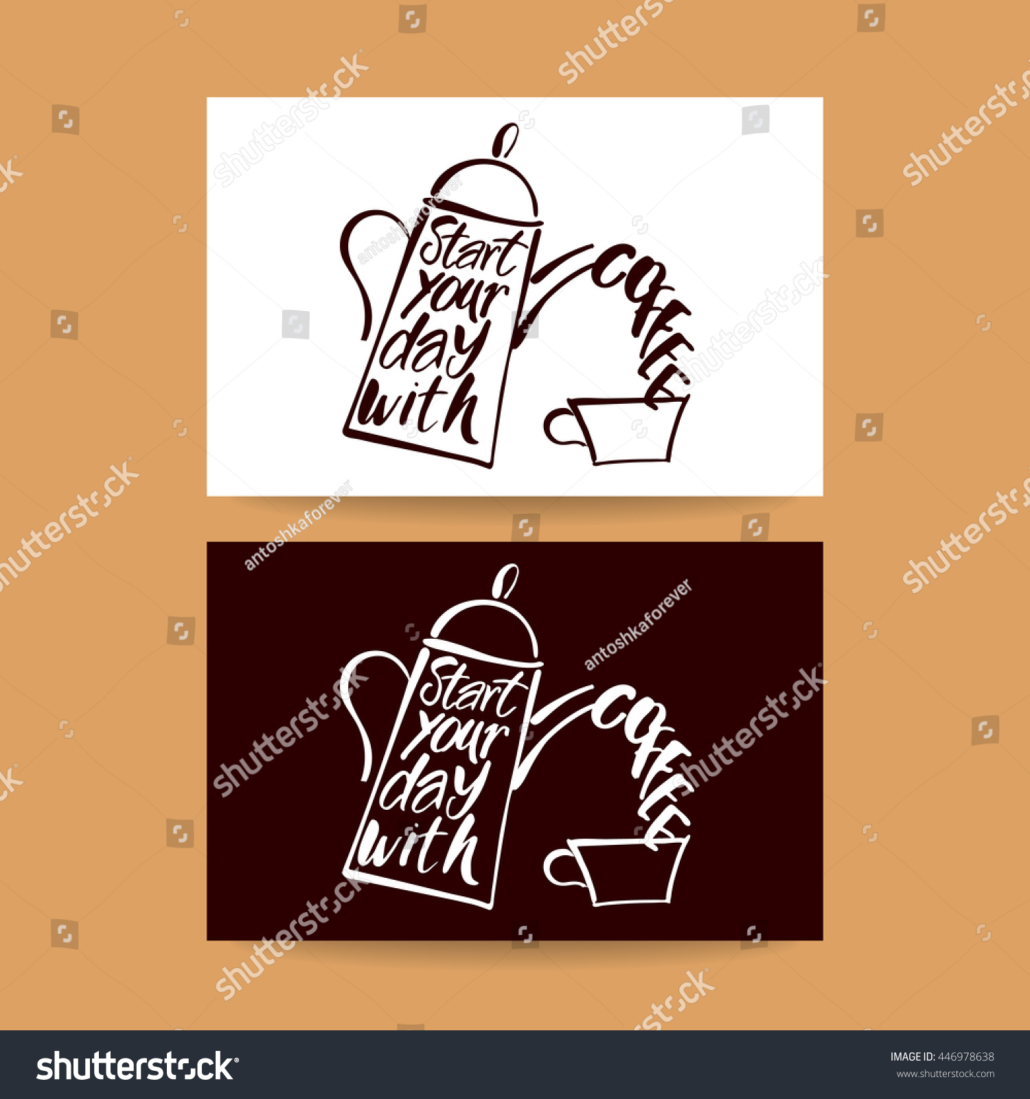 Start Your Day Coffee coffee Pot Coffee Stock Vector 446978638 ...