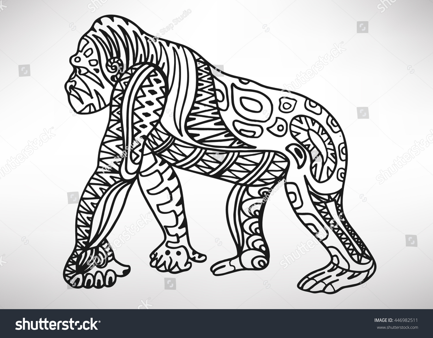 Gorilla Handdrawn Ethnic Pattern Coloring Page Stock Vector ...