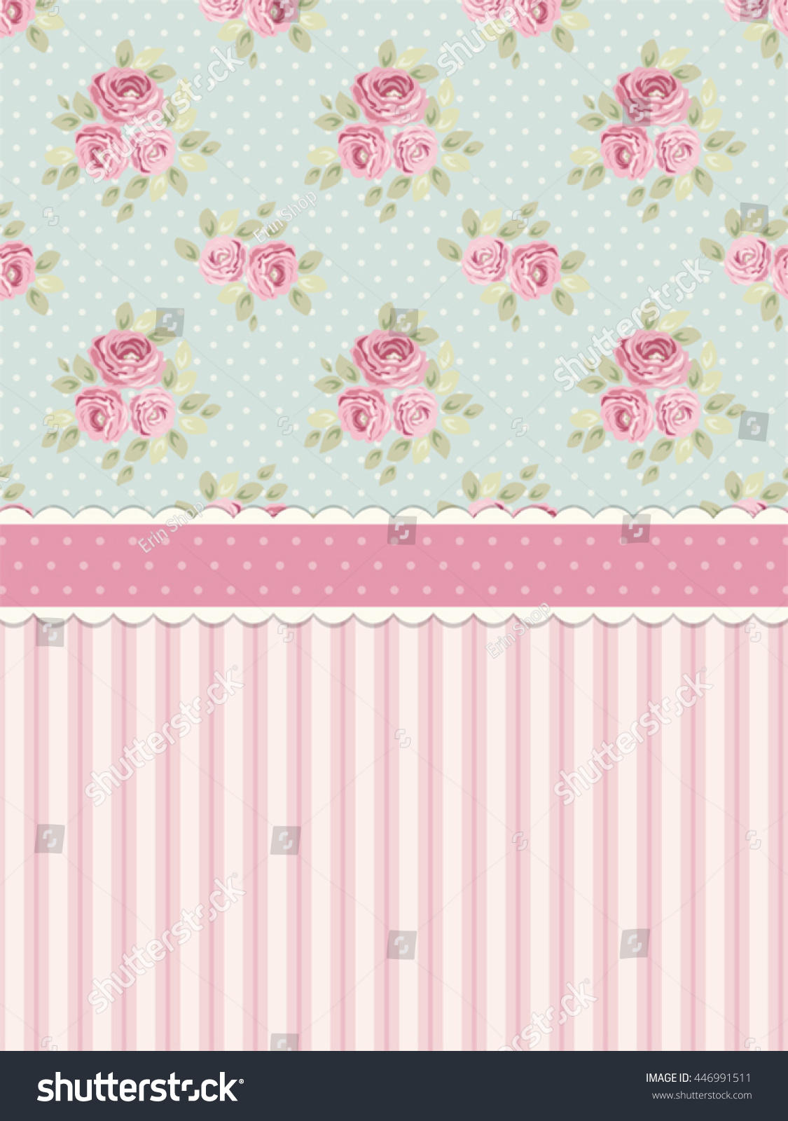 Cute shabby chic background roses polka stock vector for Background decoration images