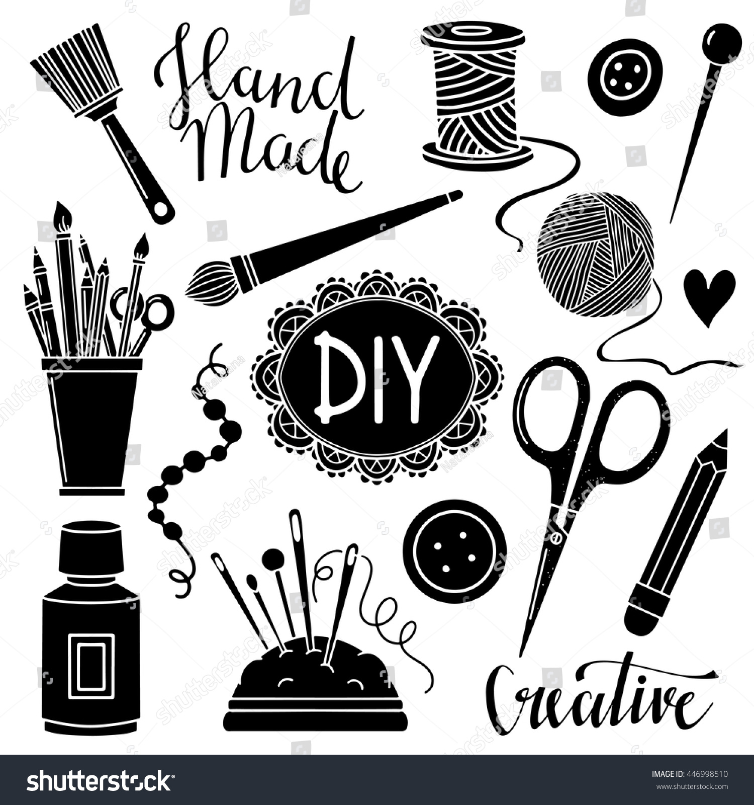 Arts Crafts Sewing Painting Hand Drawn Stock Vector