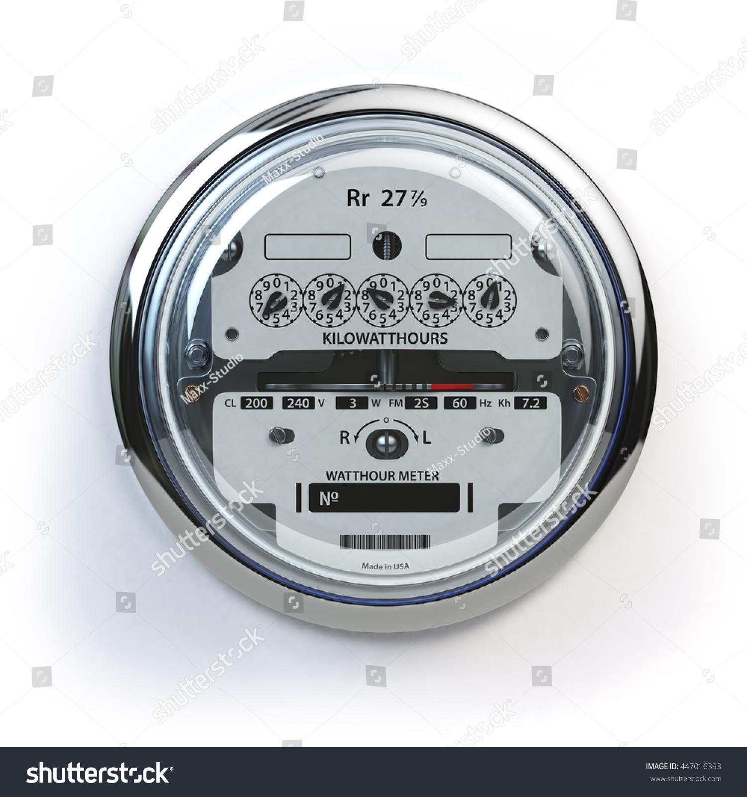 Analog Electric Meter : Analog electric meter isolated on white stock illustration