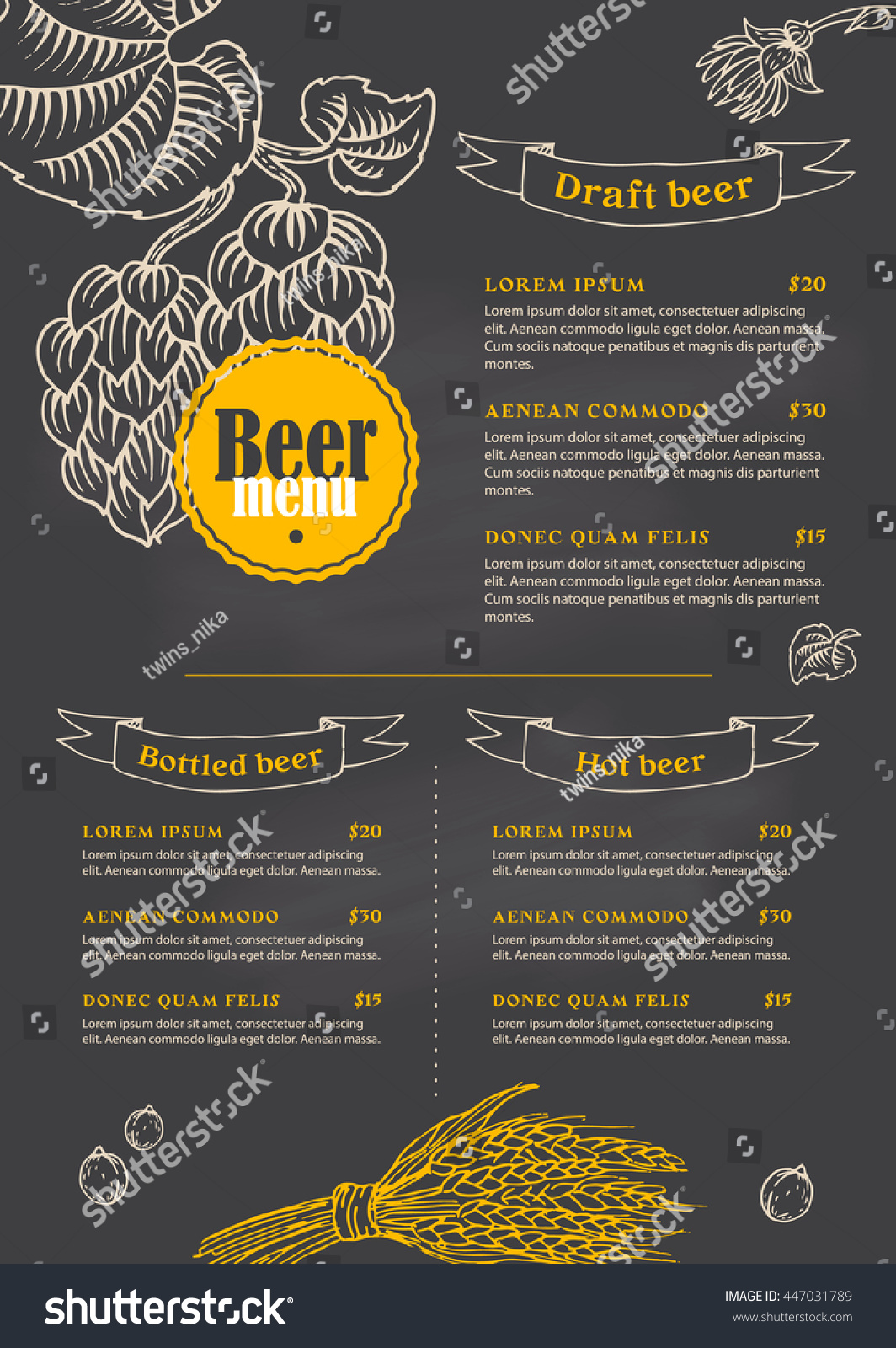Black Menu Template Branches Hops Wheat Stock Vector 447031789 ...