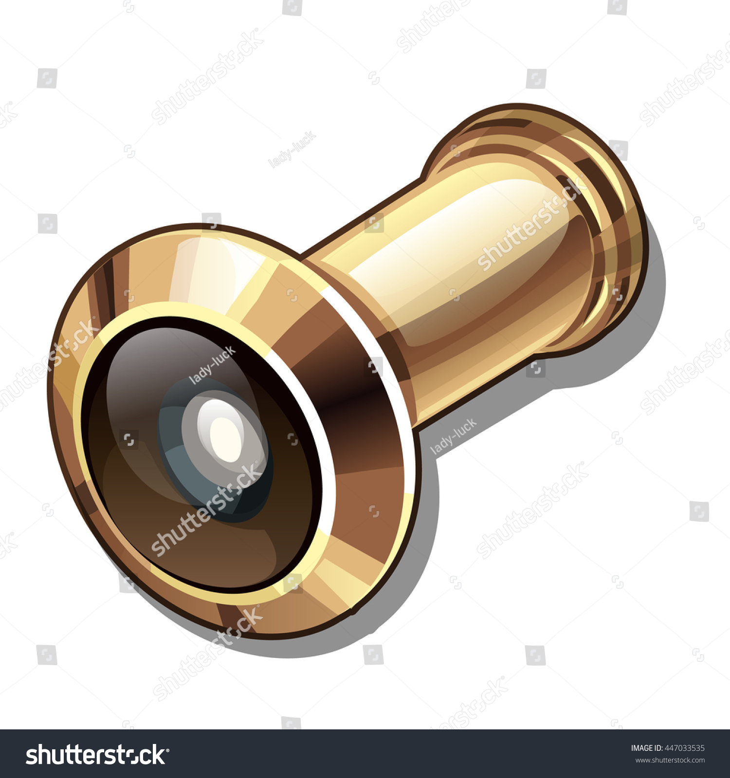 Metallic golden door peephole viewer isolated on white background. Construction and finishing materials. Vector  sc 1 st  Shutterstock & Metallic Golden Door Peephole Viewer Isolated Stock Vector ... pezcame.com