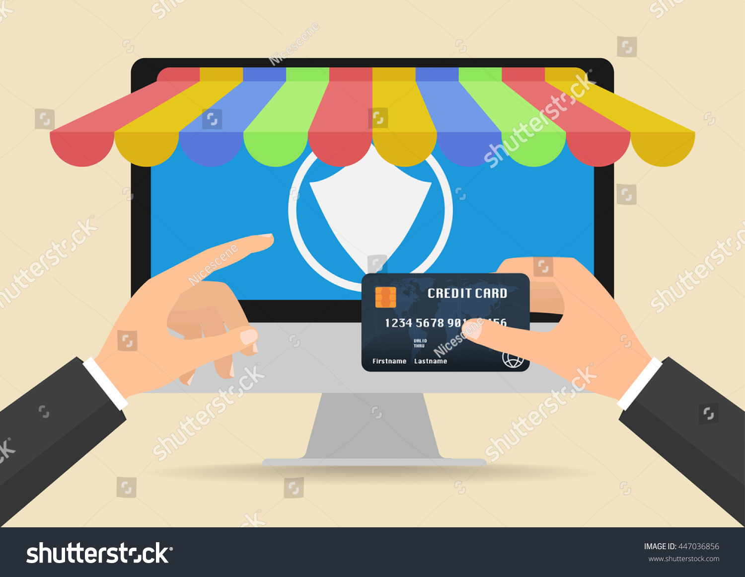 Businessman hands holding credit card online stock vector businessman hands holding credit card for online shopping and secure payment for online store vector magicingreecefo Gallery