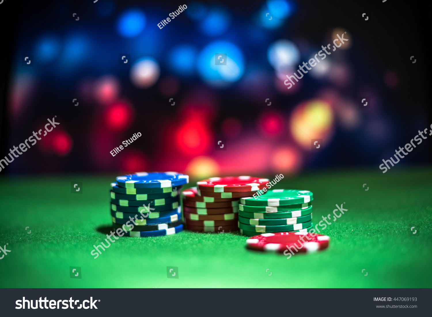 Poker table background - Blur Background And Chips Stack Of Poker Chips On A Green Table Poker Game