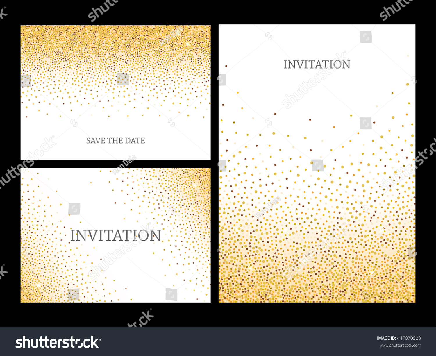 Invitation letters template gold glitter confetti stock vector invitation letters template with gold glitter confetti background festive greeting cards design for event stopboris Images