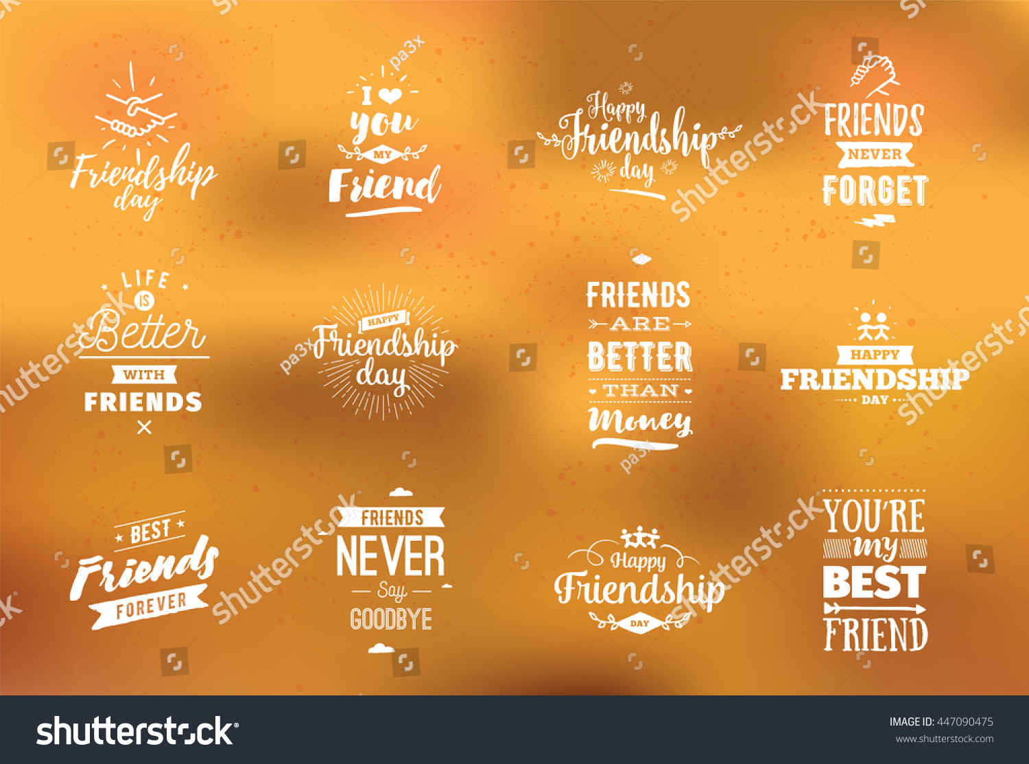Inspirational Quotes About Friendship Happy Friendship Day Vector Typographic Design Stock Vector
