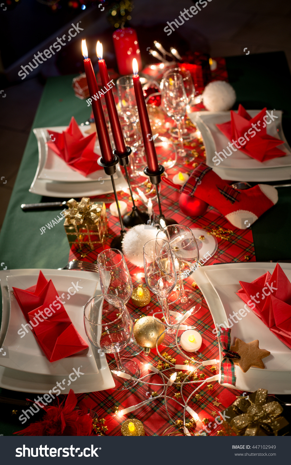 Gold Red Christmas Table Decoration Dim Stock Photo Edit Now 447102949