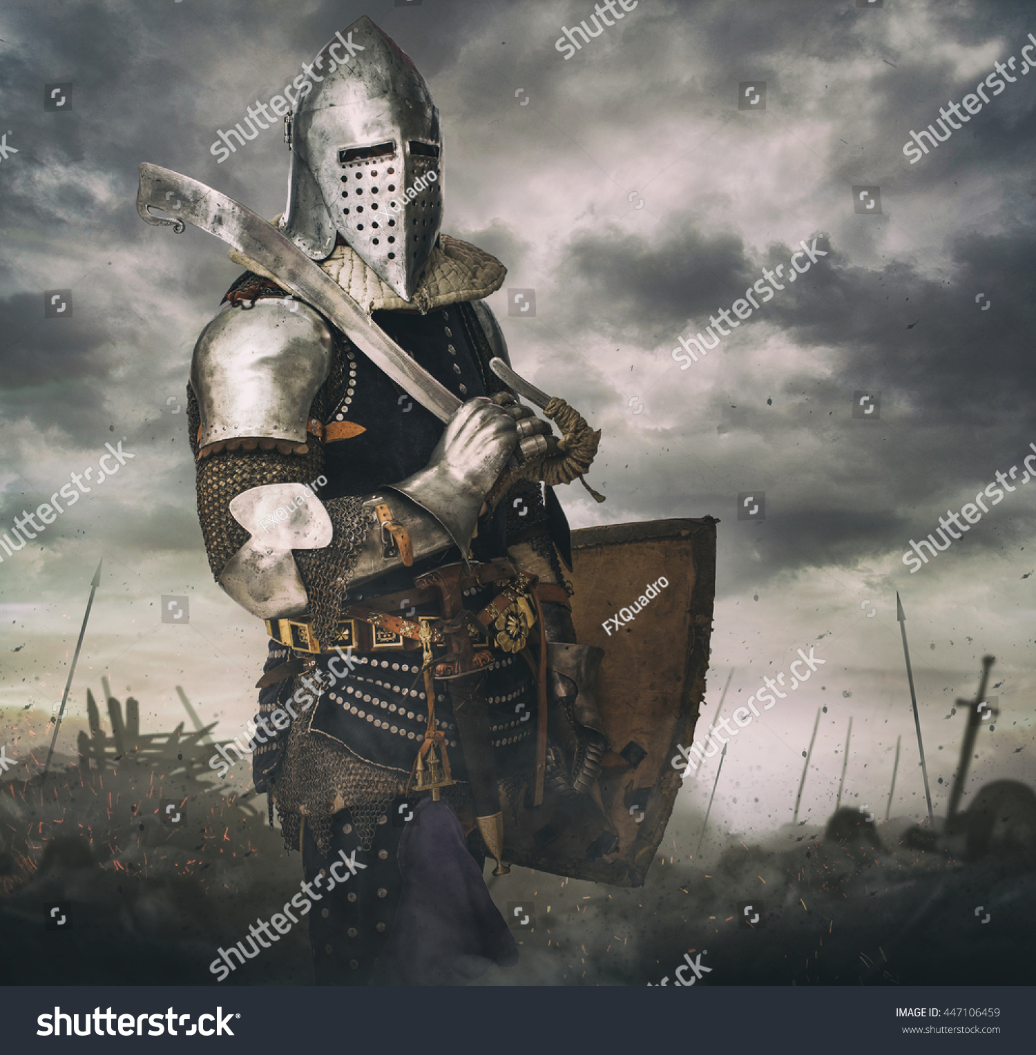 Knight Armour On Battle Rise Under Stock Photo 447106459