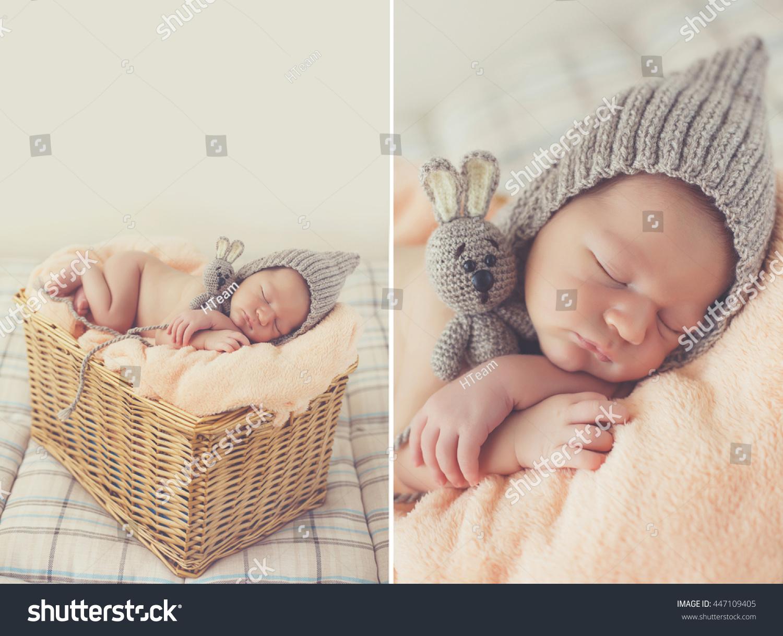 e39f44f6ec8 Cute happy newborn baby in a blue knit cap sleeping in a basket. little  newborn baby boy or girl. Royalty Free Stock ...