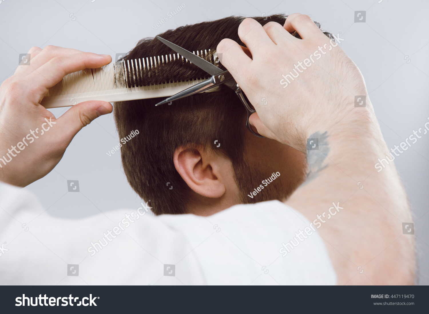 Barbers Hands Tattoos Doing Haircut Darkhaired Stock Photo Edit Now