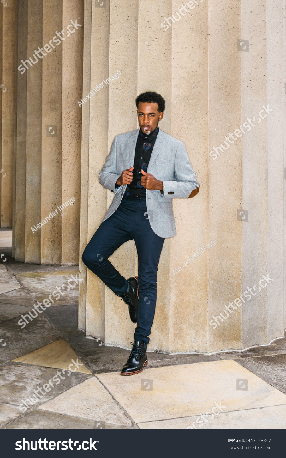 911f2824526 African American Businessman Semi-Formal Fashion in New York. Wearing gray  blazer