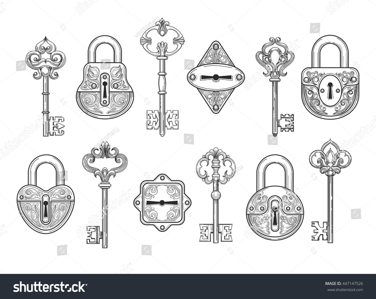 Vintage Key Keyhole And Lock Set Or Victorian Padlock Elements Vector Illustration 447147526