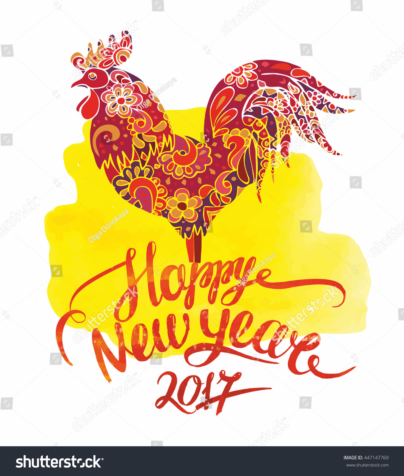 Happy new year 2017 greeting card stock vector 447147769 happy new year 2017 greeting card with rooster symbol of chinese horoscope good for posters kristyandbryce Gallery