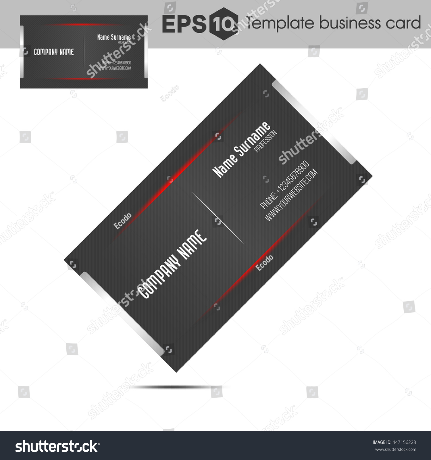 Red Template Business Card Companies Stock Vector 447156223 ...