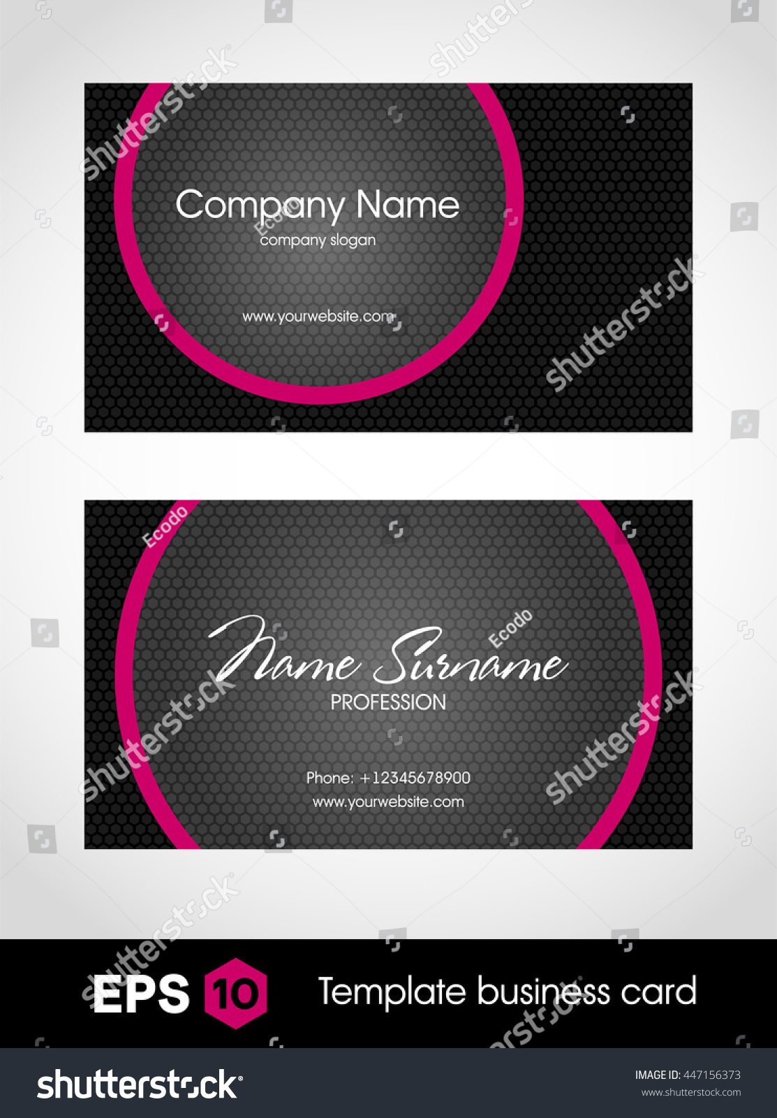 Glamorous Business Card Template Stock Vector 447156373 - Shutterstock