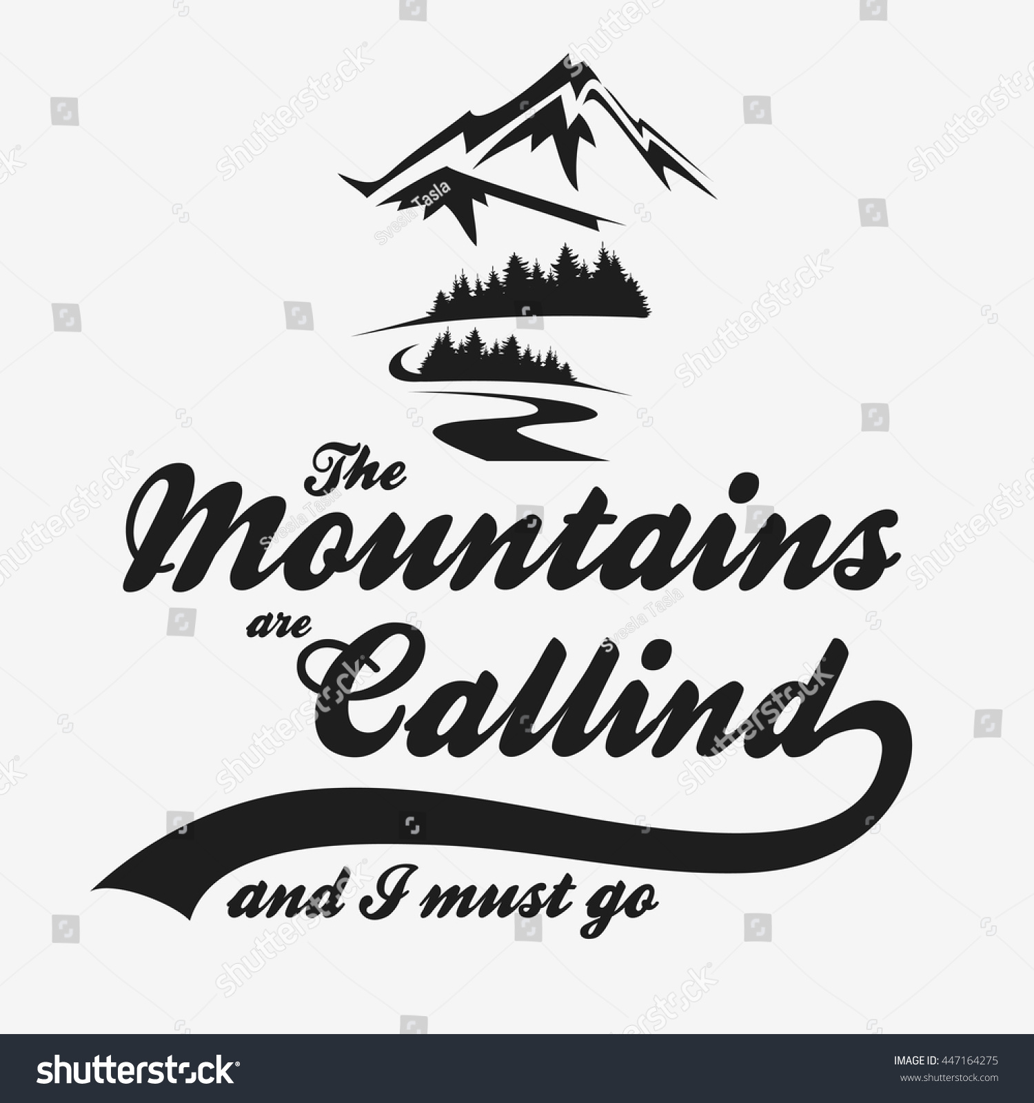 Mountains calling must go hand drawn stock vector for The mountains are calling and i must go metal sign