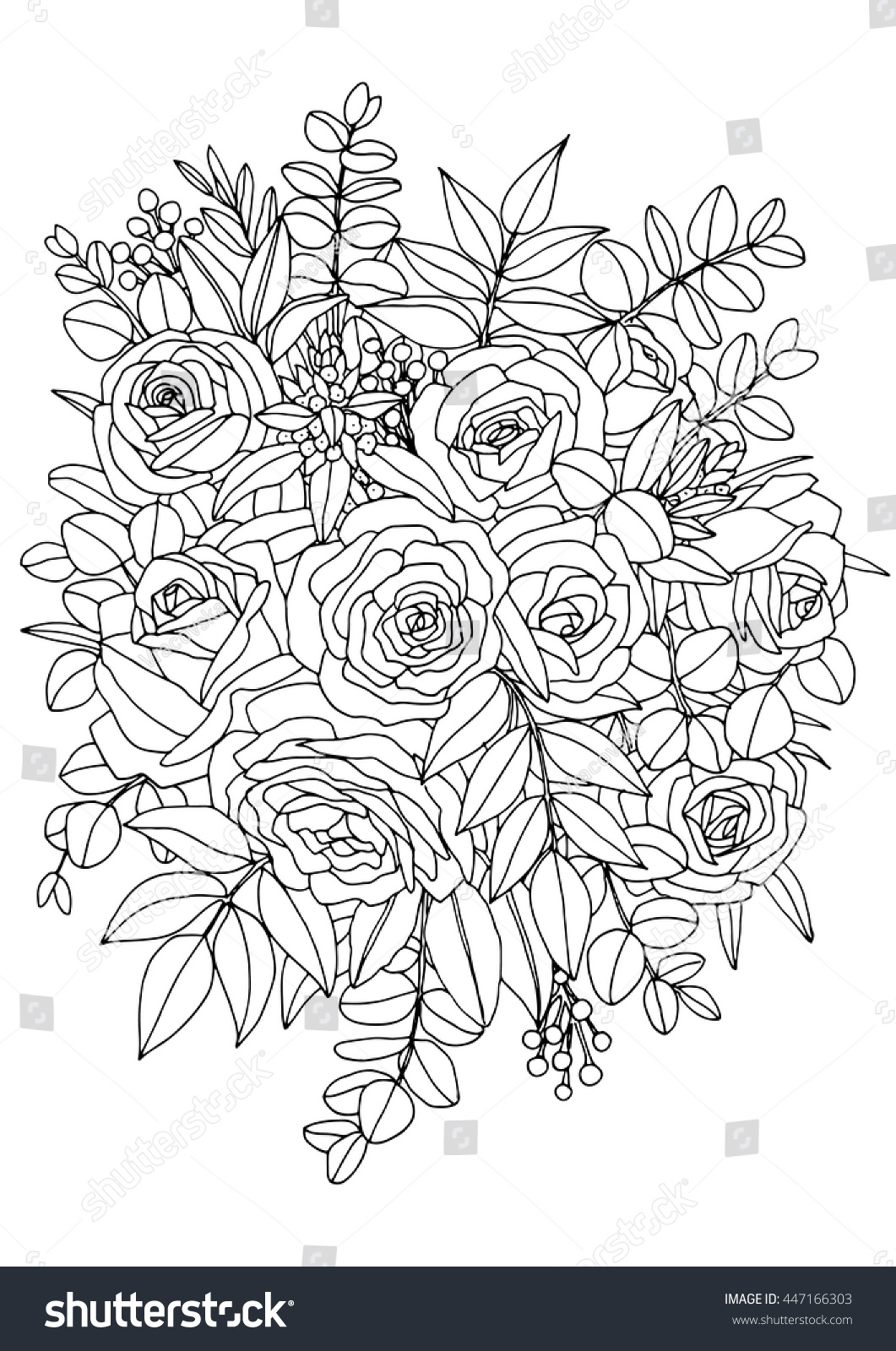 Bouquet flowers coloring book page a 4 stock vector royalty free bouquet of flowers coloring book page a4 printable izmirmasajfo