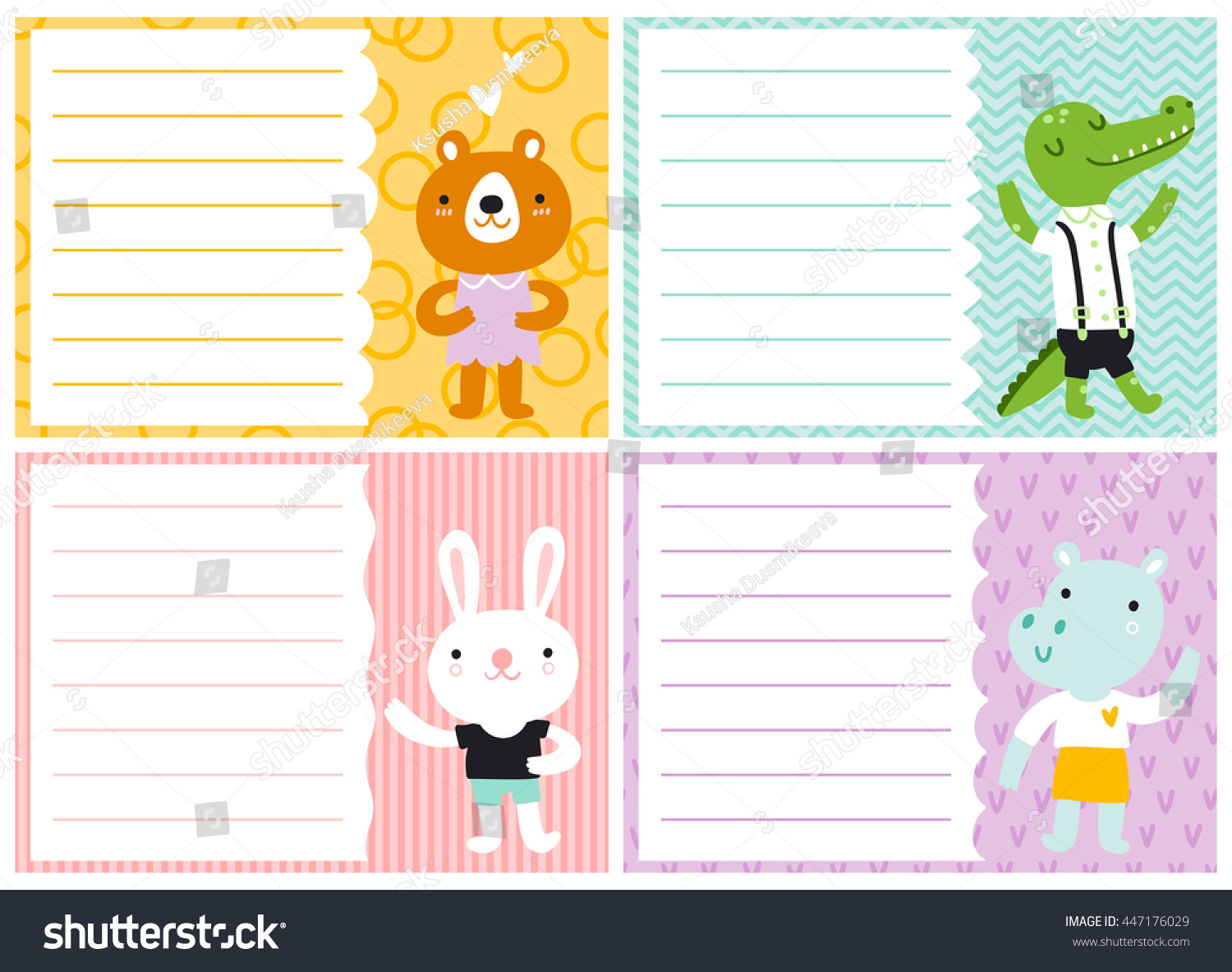 Cute Note Cards Kids Vector Templates Vector 447176029 – Note Card Template