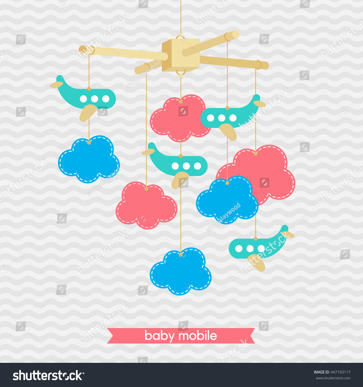 Baby Shower Invitation Template Adorable Illustration Stock Vector