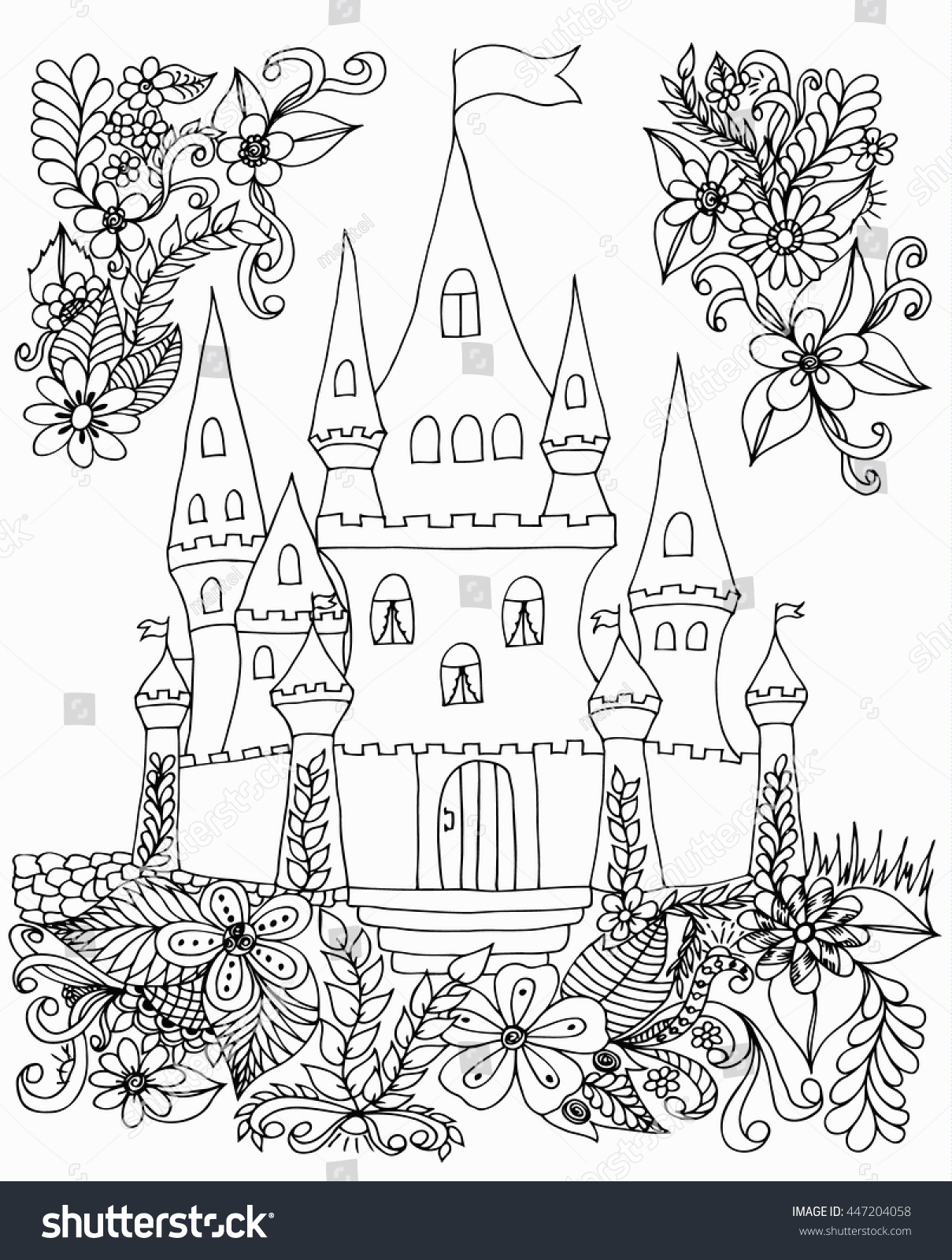 Coloring book landmark for adults - Vector Illustration Zentangl Castle With Flowers Coloring Book Anti Stress For Adults Black And