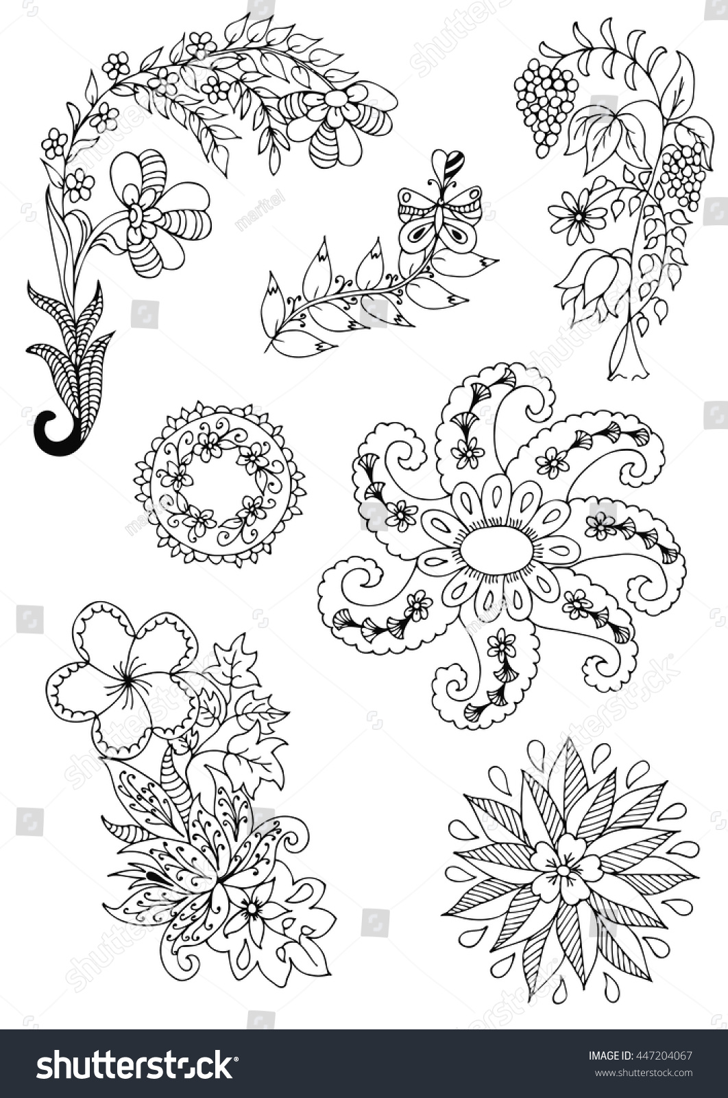 vector illustration zentangl ornament of flowers coloring book anti stress for adults black - Flowers Coloring Book