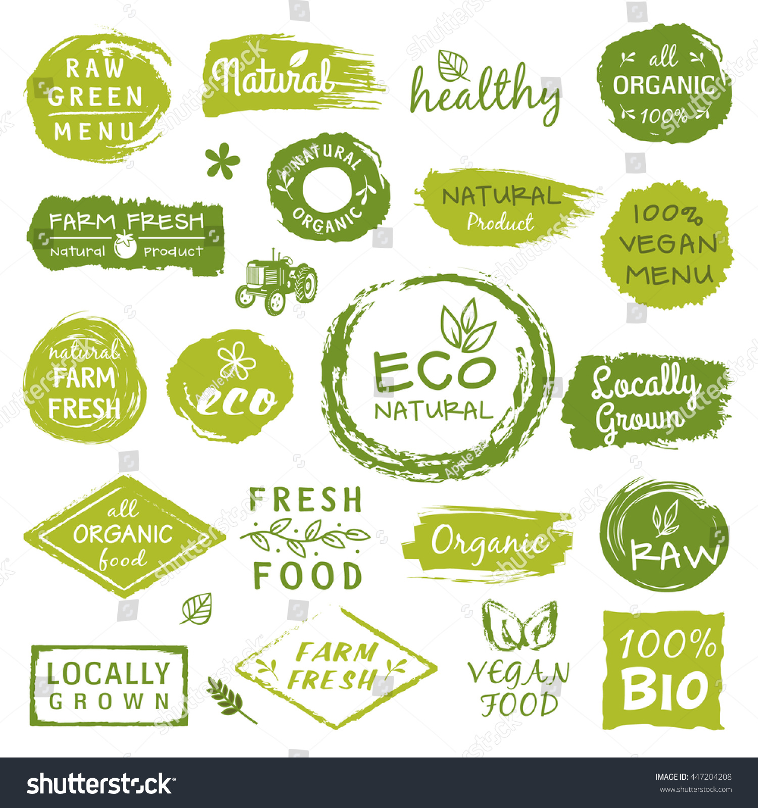 Organic Food Products Healthy: Collection Healthy Organic Food Labels Logos Stock Vector