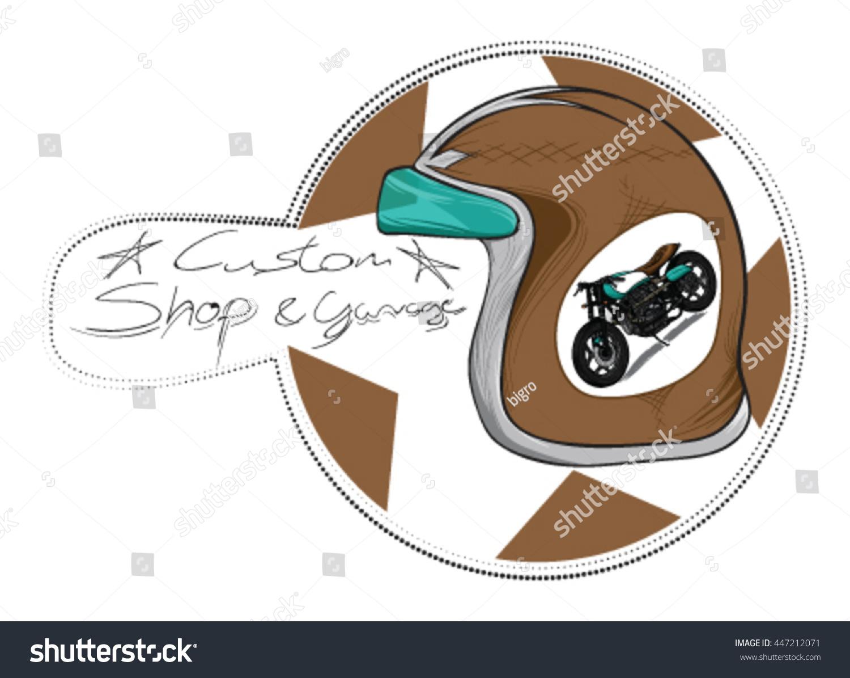 Vintage retro bike helmet vector with motorcycle helmet sticker and some custom text