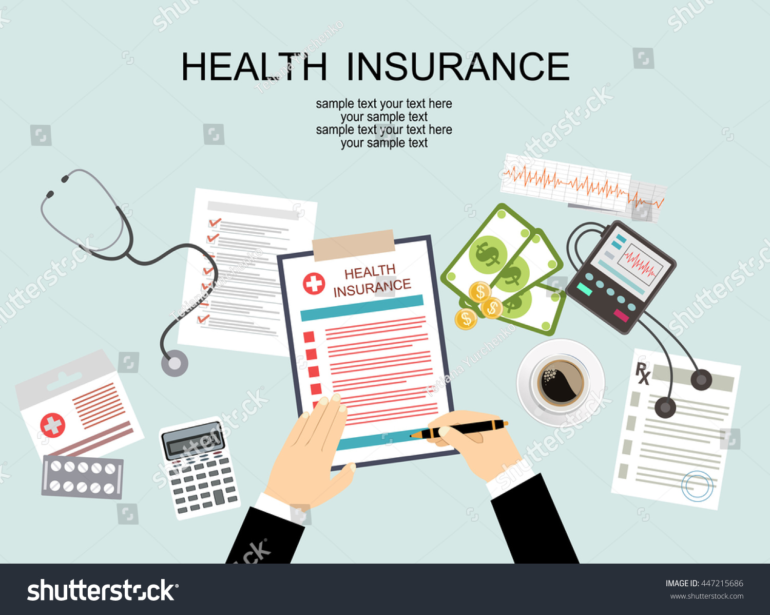 Man table fills form health insurance stock vector for Table flat design