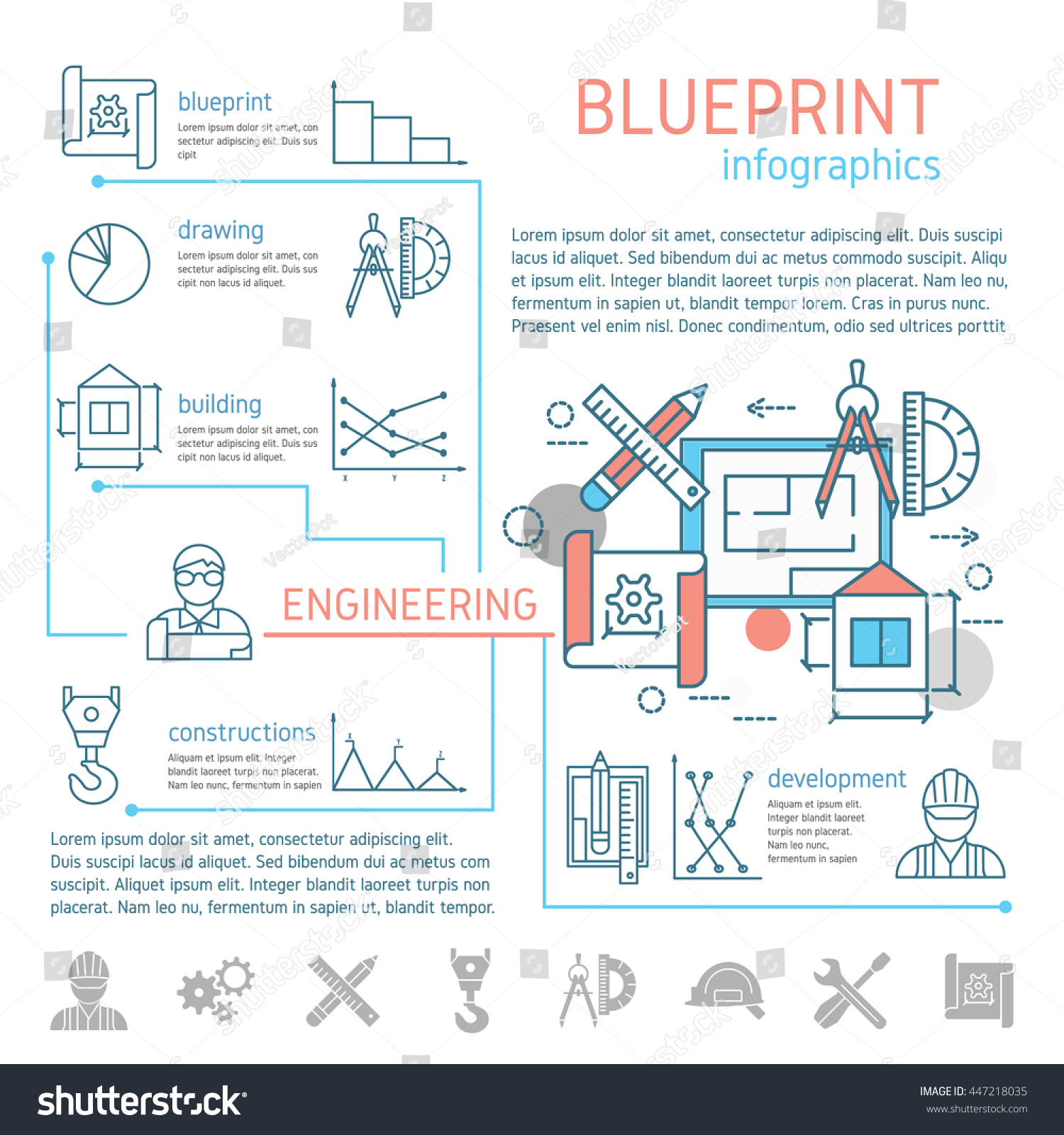 Blueprint Engineering Linear Infographics Drafts Drawing Stock Diagrams And With Tools Design Text Graphs Vector Illustration