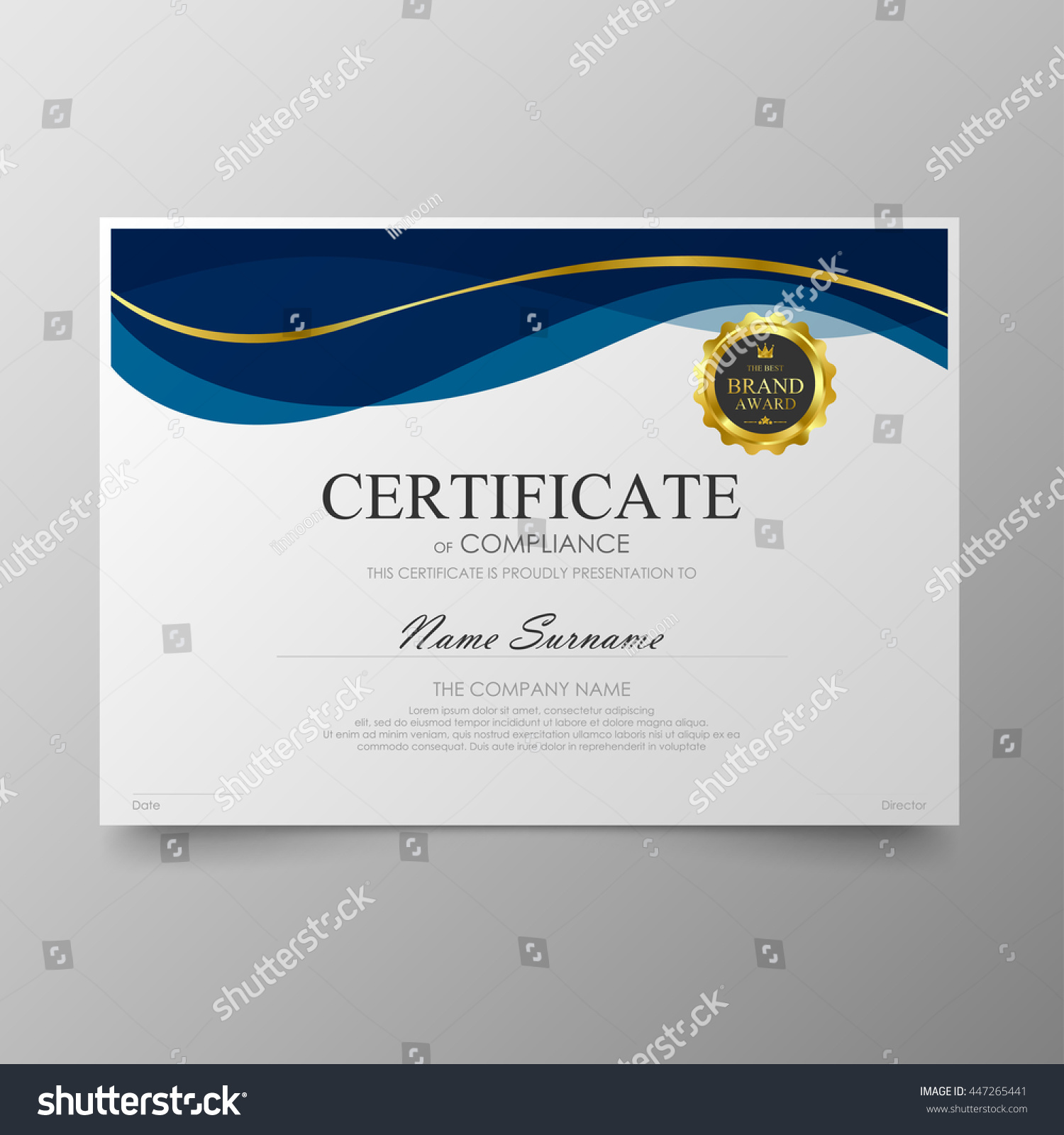 Blue Certificate Diploma Background Template Vector Stock Vector ...