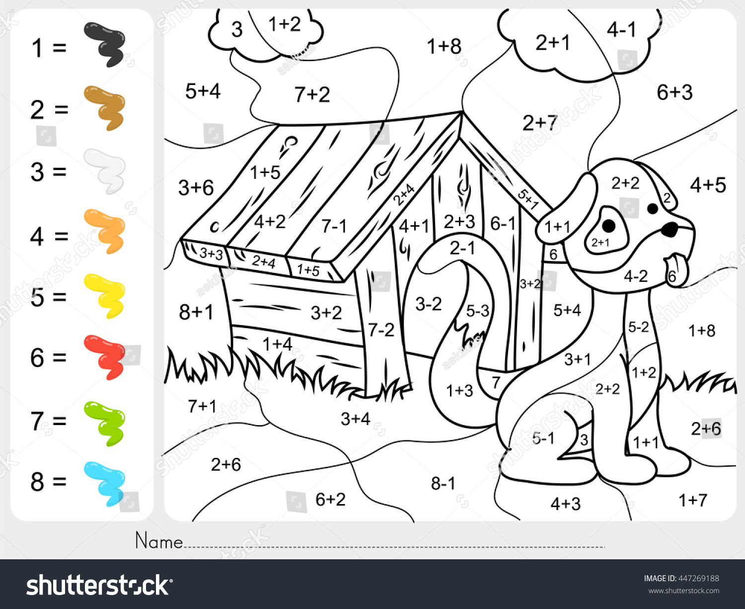 Paint Color By Addition Subtraction Numbers Stock Vector 447269188 ...