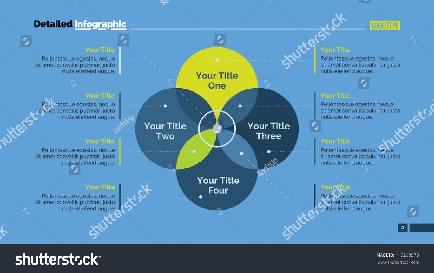 Four sides venn diagram slide template stock vector 447293578 four sides venn diagram slide template pooptronica Image collections